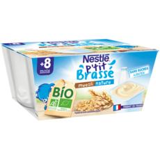 NESTLE P'tit brassé pot dessert lacté nature muesli bio dès 8 mois 4x90g