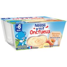 Nestlé NESTLE P'tit onctueux petit pot dessert lacté banane pêche dès 6mois