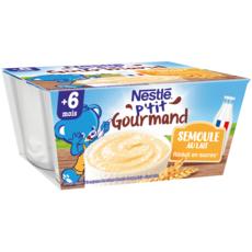 NESTLE P'tit gourmand pot dessert à la semoule au lait dès 6 mois 4x100g