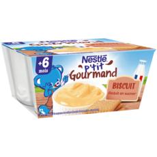 NESTLE P'tit gourmand petit pot dessert lacté biscuité dès 6 mois 4x100g