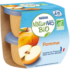 NESTLE Naturnes petit pot dessert pommes bio dès 4 mois 2x115g