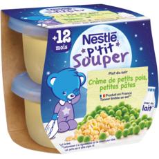 NESTLE P'tit souper bol crème de petits pois et pâtes dès 12 mois 2x200g