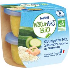 NESTLE Naturnes bol courgette riz saumon ciboulette bio dès 8 mois 2x190g