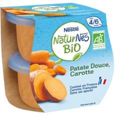 NESTLE Naturnes bol carotte et patate douce bio dès 4 mois 2x130g