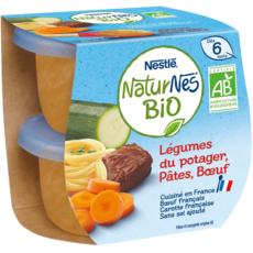 NESTLE Naturnes bol légumes du potager pâtes boeuf bio dès 6 mois 2x130g