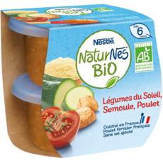 NESTLE Naturnes bol légumes du soleil semoule poulet bio dès 6 mois 2x190g