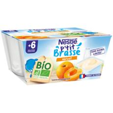 NESTLE P'tit brassé Dessert lacté biologique aux fruits pour bébé dès 6 mois 4x90g