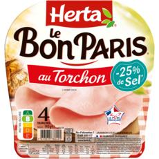 HERTA Jambon au torchon -25% de sel sans couenne 4 tranches 360g