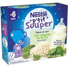 NESTLE P'tit souper lait aux légumes verts et riz dès 6 mois 2x250ml