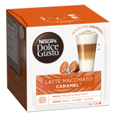 NESCAFE Capsules de café Latte Macchiato caramel compatibles Dolce Gusto 8+8 capsules 145,6g