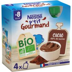 NESTLE P'tit gourmand gourde dessert lacté cacao bio dès 8 mois 4x85g
