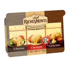 RICHESMONTS Plateau raclette classique 3 poivres et de caractère 4 à 6 personnes 700g