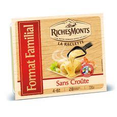 RICHESMONTS Fromage à raclette sans croûte 28 tranches 750g