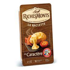 RICHESMONTS Fromage à raclette de caractère 16 tranches 420g