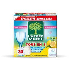 L'ARBRE VERT Tablettes lave-vaisselle Ecolabel tout-en-1 citron 30 lavages 30 tablettes