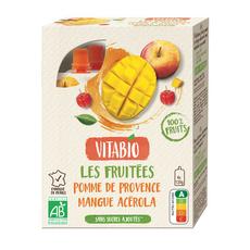 VITABIO Les fruitées Gourdes pomme de Provence mangue Acérola sans sucres ajoutés 4x120g
