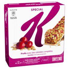 SPECIAL K Barres de céréales aux fruits rouges 6 barres 129g