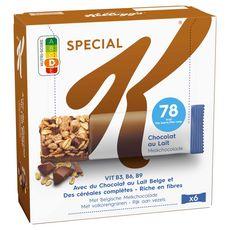 SPECIAL K Barres de céréales au chocolat au lait belge 6 barres 120g