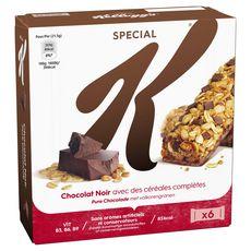 SPECIAL K Barres de céréales au chocolat noir 6 barres 129g