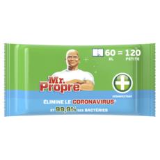 MR.PROPRE Lingettes désinfectantes multi-usages résistantes et épaisses 120 lingettes