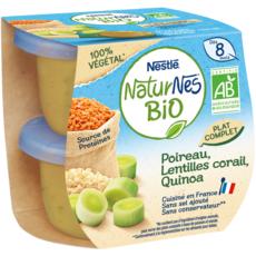 NESTLE Naturnes Bio bol poireaux lentilles et quinoa dès 8 mois 2x190g