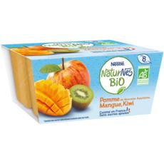 NESTLE Naturnes petit pot dessert pomme mangue et kiwi bio dès 8 mois 4x90g