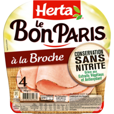 HERTA Le Bon Paris Jambon à la broche sans nitrite 4 tranches 140g