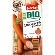 HERTA Saucisses de Strasbourg fumées bio sans nitrite 4 pièces 140g