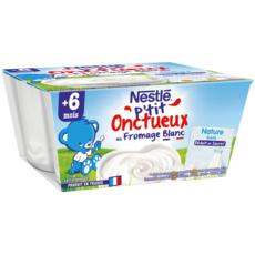 NESTLE P'tit onctueux pot dessert au fromage blanc nature dès 6 mois 4x100g