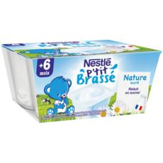 Nestlé NESTLE P'tit brassé petit pot dessert lacté nature sucré dès 6 mois