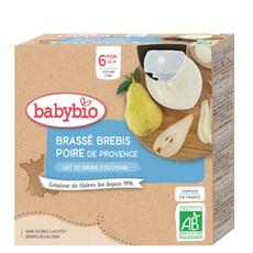 BABYBIO Gourde dessert brassé poire lait de brebis bio dès 6 mois 4x85g