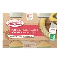 BABYBIO Petit pot dessert pomme banane lait de coco bio dès 6 mois 2x130g