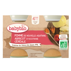 BABYBIO Petit pot dessert pomme abricot bio dès 4mois 2x130g