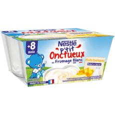 NESTLE P'tit onctueux pot dessert fromage blanc aux fruits dès 8mois 4x100g