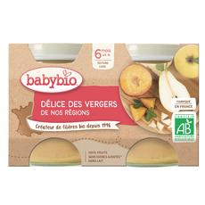 BABYBIO Petit pot dessert délices des vergers bio dès 6 mois 2x130g
