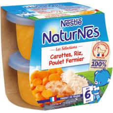 NESTLE Naturnes bol carottes riz et poulet fermier dès 6 mois 2x190g