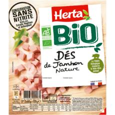 HERTA Dés de jambon nature bio conservation sans nitrite 2x60g