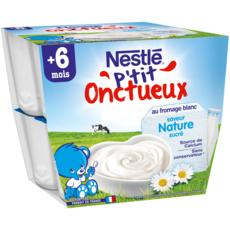 Nestlé NESTLE P'tit onctueux pot dessert au fromage blanc nature dès 6 mois