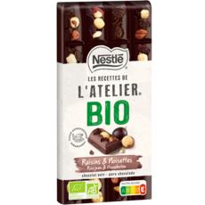 NESTLE Les recettes de l'atelier bio tablette de chocolat noir raisins et noisettes 170g
