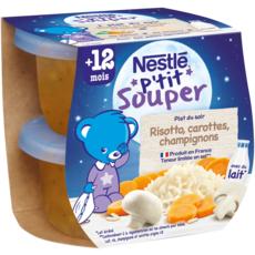 NESTLE P'tit souper bol risotto carottes et champignons dès 12 mois 2x200g