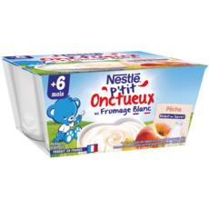 NESTLE P'tit onctueux pot dessert au fromage blanc pêche dès 6 mois 4x100g