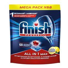 FINISH Tablettes lave-vaisselle Powerball tout en 1 parfum citron 68 lavages 68 tablettes