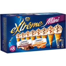 EXTREME Mini-cône glacé au sundae caramel et chocolat 8 pièces 312g