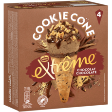 EXTREME Cône glacé cookie chocolat 4 pièces 284g