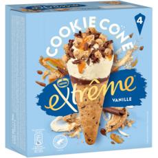 EXTREME Cône glacé cookie vanille caramel 4 pièces 284g