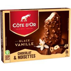 COTE D'OR Bâtonnet glacé à la vanille enrobé de chocolat et noisettes 4 pièces 260g