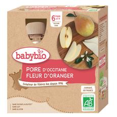 BABYBIO Gourde dessert poire et fleur d'oranger bio dès 6 mois 4x90g