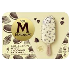 MAGNUM Bâtonnet glacé chocolat blanc cookies 4 pièces 296g