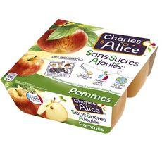 CHARLES & ALICE Spécialité pomme sans sucres ajoutés 4x100g