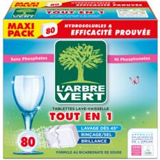 L'ARBRE VERT Tablettes lave-vaisselle Ecolabel tout-en-1 80 lavages 80 tablettes